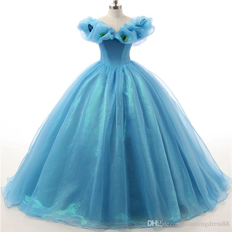 Cinderella Ball Gown Quinceanera Dresses Cheap Long Off the shoulder with Short Sleeves Organza Corset Back Prom Formal Pageant Dress Sweety