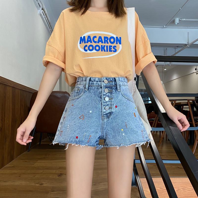 Летний шик Омывается Вышивка Denim шорты женские Повседневный дряблая высокой талией Wide Leg Короткие джинсы Женщины Корея Горячие шорты