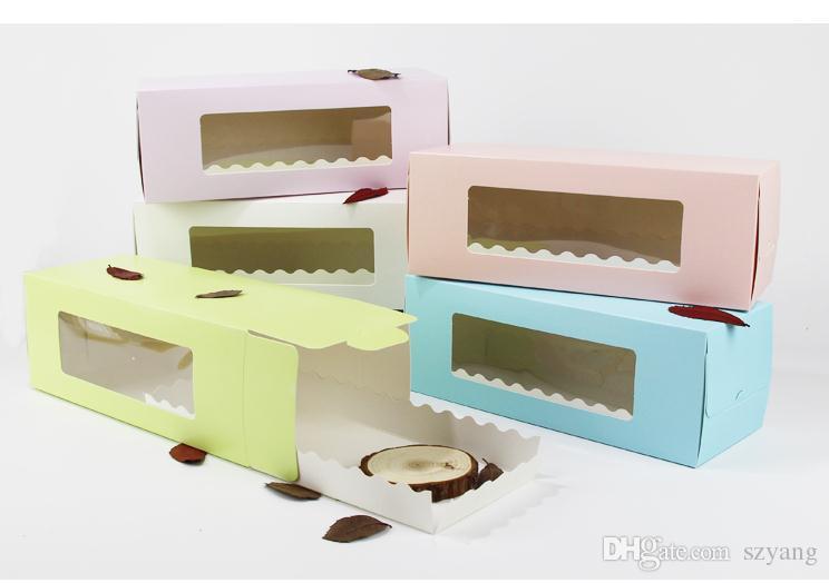 5 Cores Longas Caixa De Papelão De Papelão para Bolo Padaria Rolo Suíço Caixas De Bolo Cookie Cupcake Embalagem SN2447