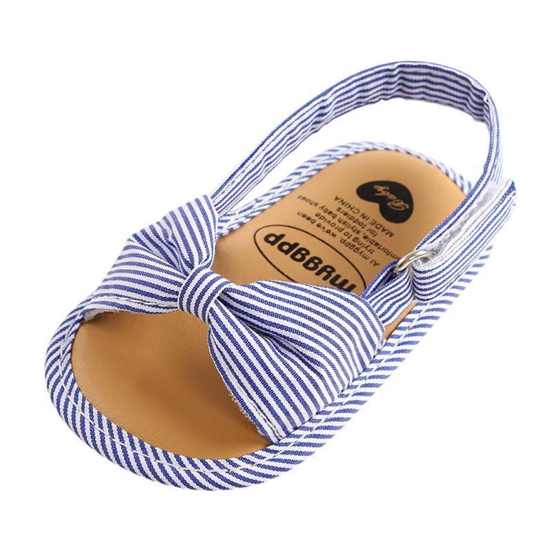KANCOOLD neugeborene Baumwolle Schnalle weicher Boden rutschfest hookloop Kleinkindschuhe Mädchen römischer Baby Stil gestreifter Sandalen