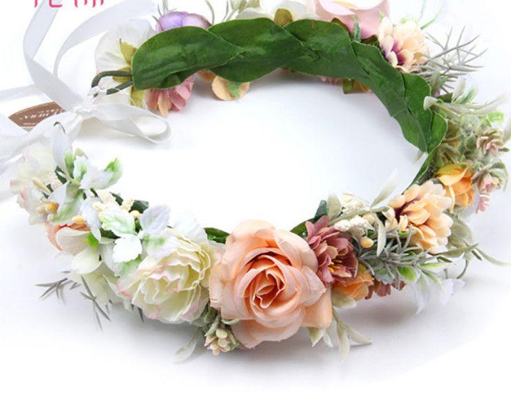 Jour des enfants pageant couronne bandeaux style bohème filles simulation fleurs guirlande stéréo mariée fleurs plage vacances guirlandes F6427