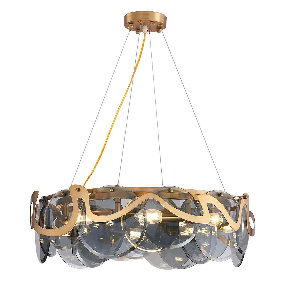 الحديث الإبداعية حلقي LED الثريات الخفيفة مع الظل زجاج داخلي معلق مصباح إضاءة لغرفة ردهة الفندق
