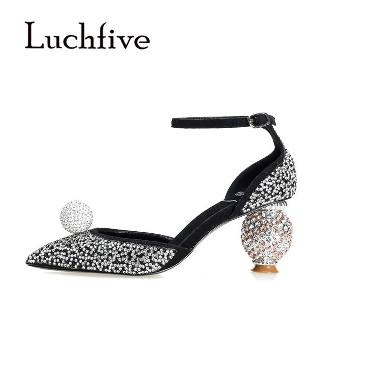 Luchfive Bling Bling Crystal Pumps Beading Round Heel Pointed Toe Mary Janes Silver Glittery Bridal Wedding Shoes Women