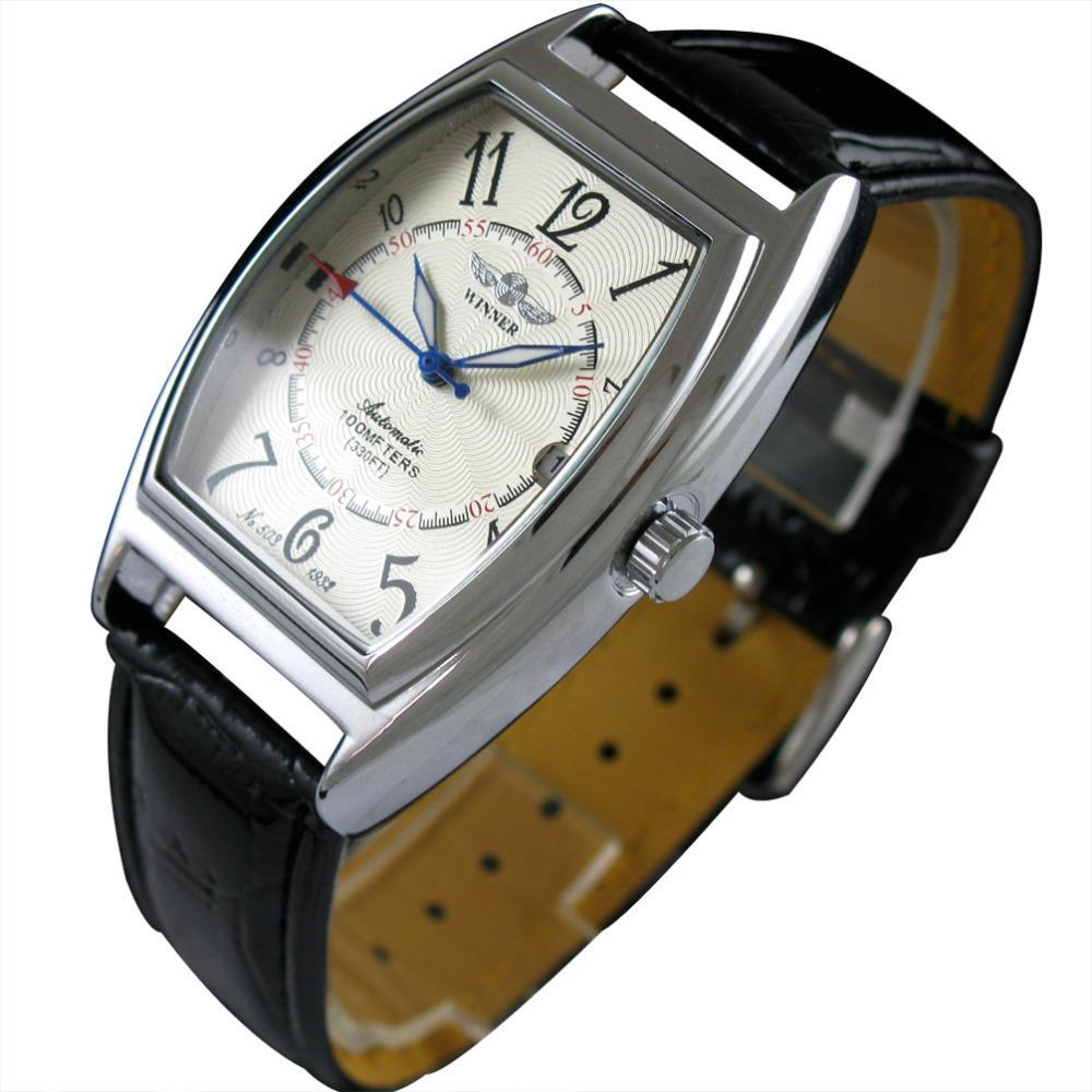 Nueva GANADOR mecánico automático relojes Oval Dial correa de cuero Negro Auto AUTO viento Hombre Fecha para hombre Reloj Masculino Relógio