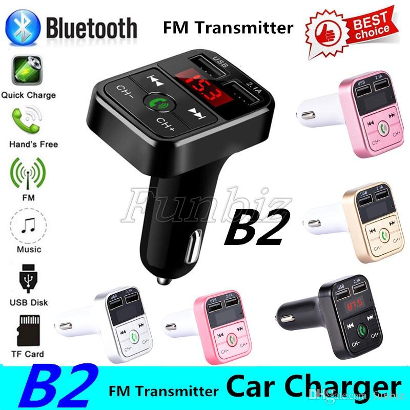 CAR B2 Multifunction Bluetooth Transmitter 2.1A Dual USB Car charger FM MP3 Player Car Kit Support TF Card Handsfree + retail box
