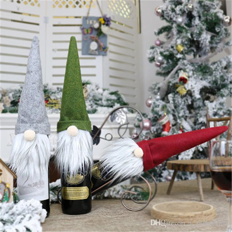 New Christmas Faceless Doll Wine Bottle Case Nordic Land God Santa Claus Champagne Wine Bottle Cover New Year Decoration