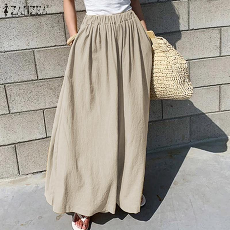 ZANZEA Femmes Large Jambe Pantalon 2020 mode Office Lady Travail Long Pantalon Coton Pantaloes Femme Lâche poches Streetwear Oversize Y200418