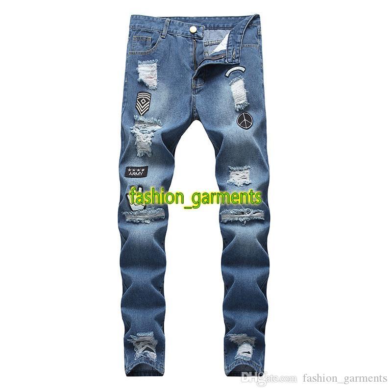 Mens Hip Hop Jeans Fashion Stylist pantaloni di alta qualità auto-coltivazione Zipper buco stretto Leg Pantaloni Uomo stilista Jeans