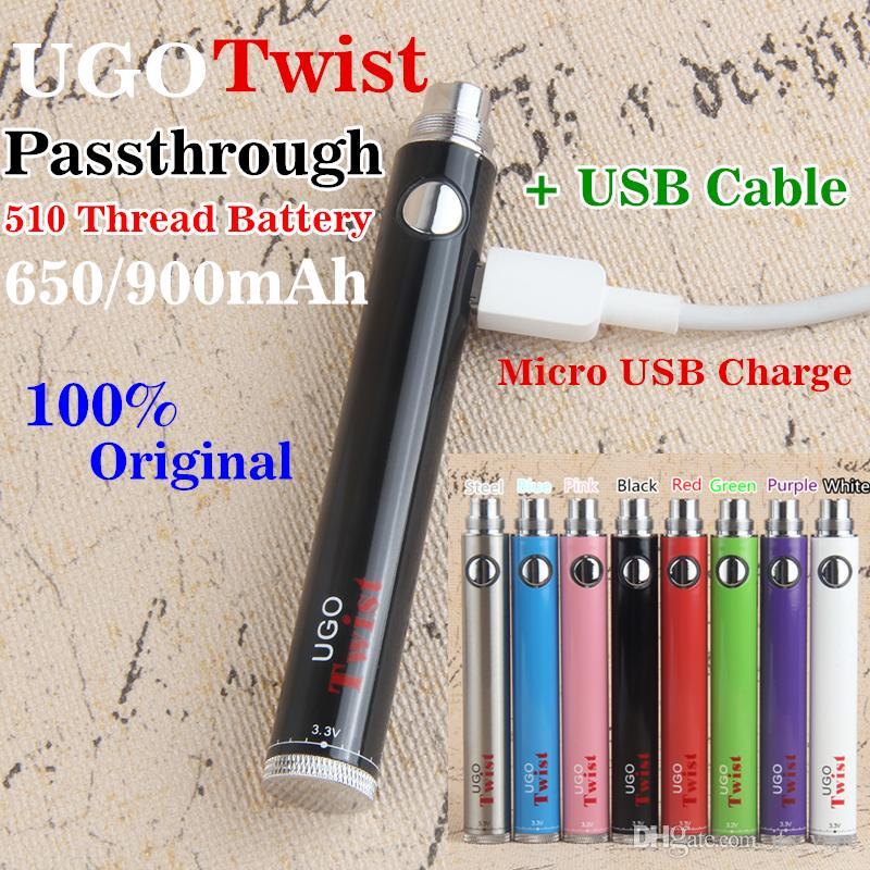 Twist Evod Variable Voltage Vape Pen Akku 650mAh 900mAh UGO eGo C Twist Micro-USB-Pass-Through für 510 Gewinde Vaporizer Atomizer