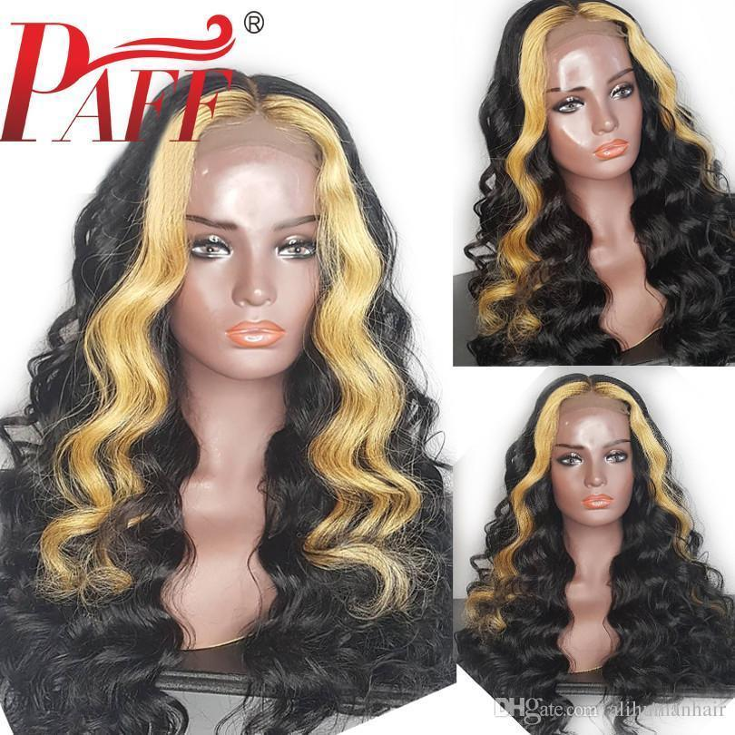 Peluca brasileña sin cola cordón del pelo humano de Remy completa onda floja Ombre destaca color PrePlucked rayita