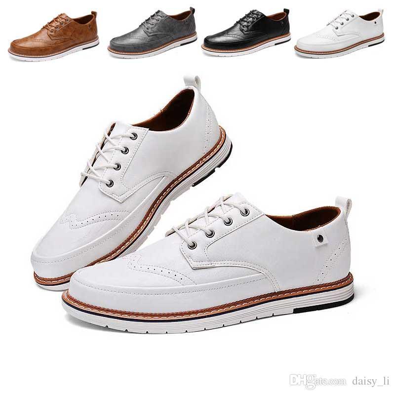 Мужчины Мягкая Кожаная Обувь 2019 Весна Человек Мокасины Кожа Марка Мужчины Повседневная Обувь Квартиры Мокасины Черный Белый Коричневый Серый #44