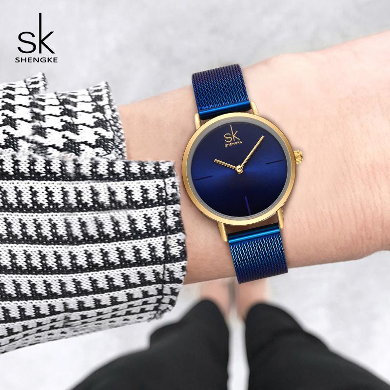 Shengke наручные часы женская мода стали кварцевые часы браслет Relogio Feminino 2018 SK творческие женские часы #K0043 C19010301