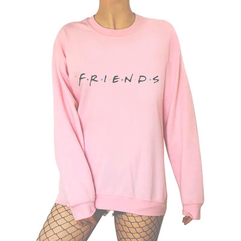 Women's Sweatshirt 2019 Autumn Long Sleeve O-Neck Harajuku Pullover Letters FRIENDS Print Hoodies Female Casual Black Pink Tops