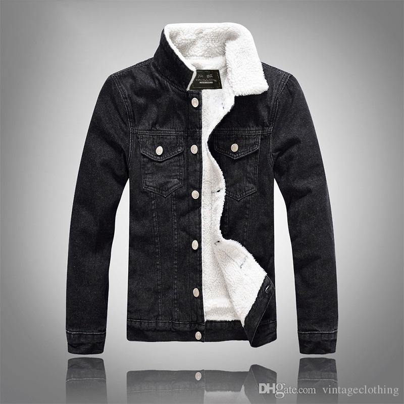 Kış Sonbahar Moda Erkek Denim Ceket Rahat Slim Fit Siyah Erkek Mont Kabanlar Erkekler Jean Ceket