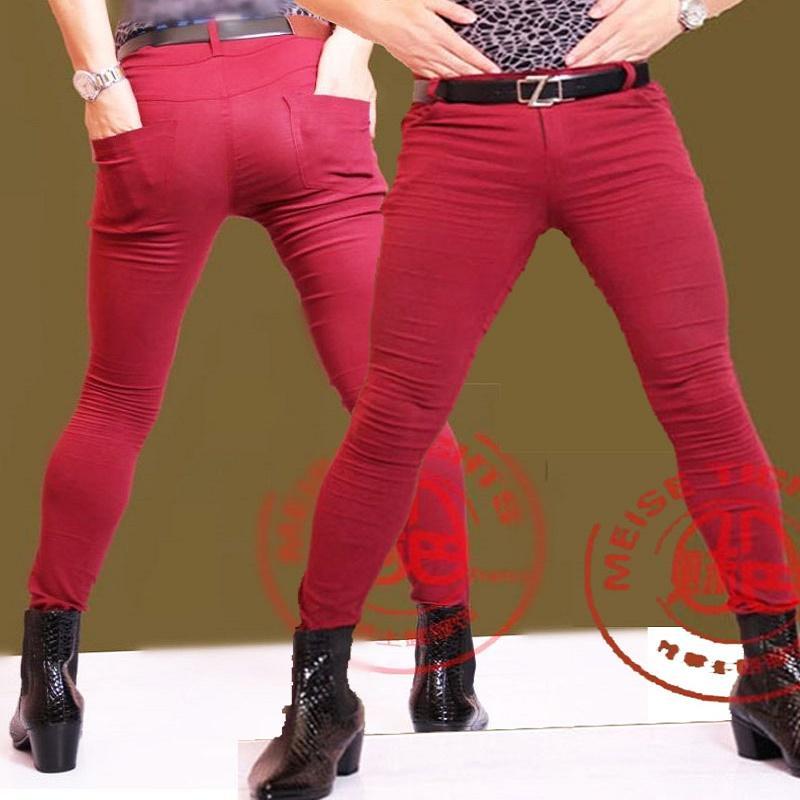 Men Plus Size Tight Jeans England Style Hair Stylist Trousers Slim Fit Pencil Pants Boots Pants Male Gay Erotic Lingerie Legging