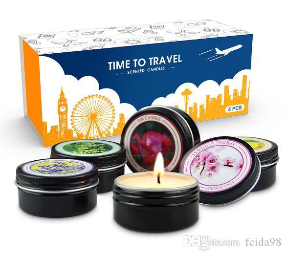 Portable fragrant candle travel suit environmental protection plant essential oil soybean wax smokeless candle wl1031