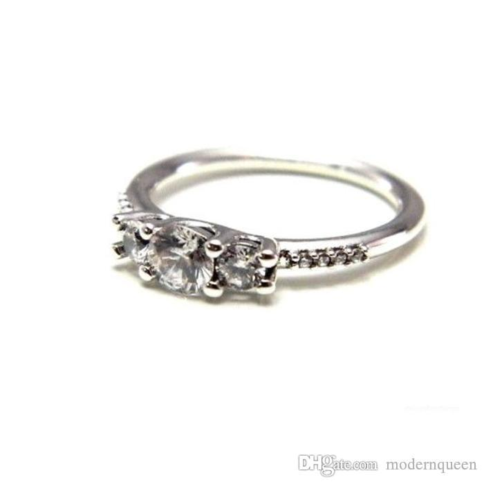Gemstone anéis 50 S925 ataques de prata para anéis de estilo pandora Fairytale faísca Anel 196242CZ H8ale