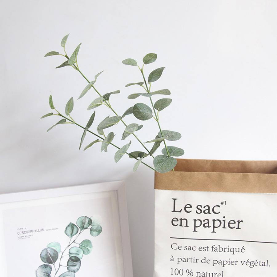 인공 잎 분기 복고풍 녹색 실크 유칼립투스 잎 홈 장식 웨딩 식물 가짜 직물 단풍 룸 장식 68 센치 메터