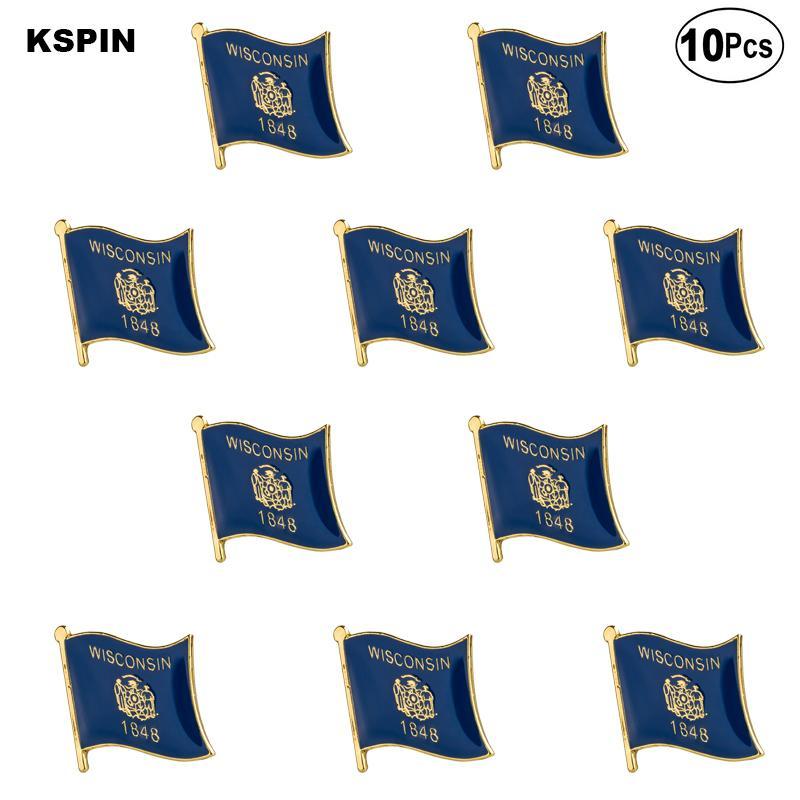 A.B.D Wisconsin Yaka Pin Bayrak rozeti Broş iğneler bir Lot Rozetleri 10 Ad