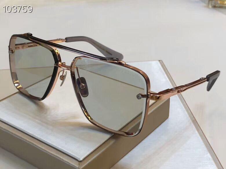 Quadrados Sunglasses 121 Rose Light Gold Grey Lentes 62mm Óculos de Sol Óculos de Sol Homens Shades Eyewear novo com caixa