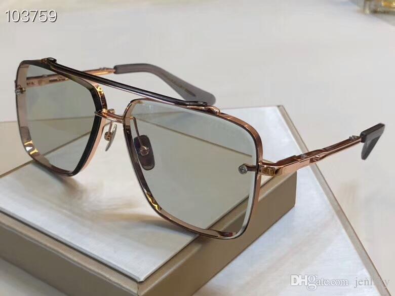 Kare Güneş 121 Shades 62mm Işık Gri Lens Güneş Gözlüğü Gözlük Erkekler Unisex Güneş Gözlüğü Gül Altın Gözlüklü Kutusu Knbos Ile Yeni
