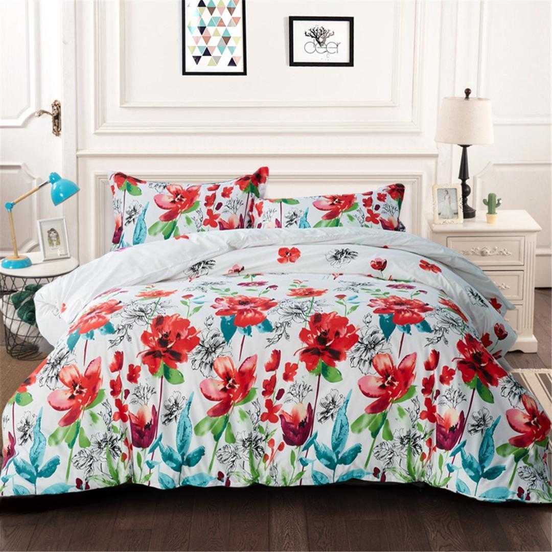 Rote Blumen Bettbezug-Set Blume Bettwäsche mit Kissen- Einzel Twin Queen-King-Size-Bettwäsche 3pcs