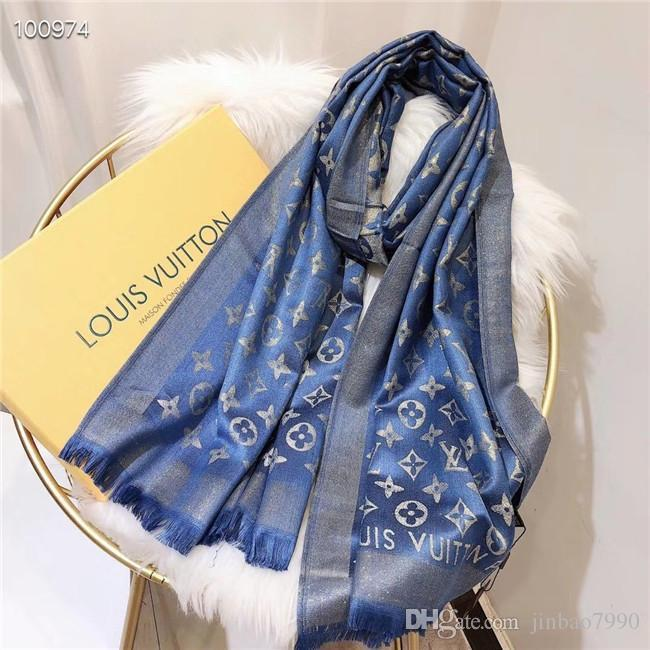 7 colori Top Four Seasons delle donne degli uomini di alta qualità di seta e cotone sciarpa morbida Oro e filo d'argento sciarpa lunga Classic stampa Scialle