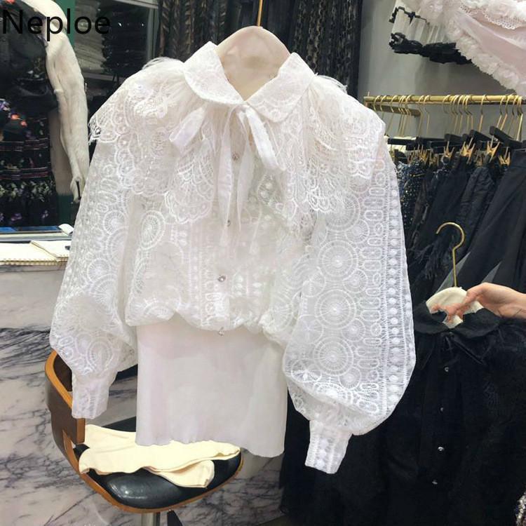Neploe Spitze Hokk Hohl-out Blusas Top Frauen 2020 Frühling-neue koreanischer Frauen-Hemd Rüschen Patchwork-dünne Taillen-Kurz Bluse 58657