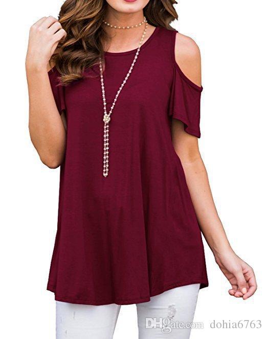 Bahar ve yaz patlamalar kadın yuvarlak boyun kısa kollu straplez gevşek T-shirt casual tops
