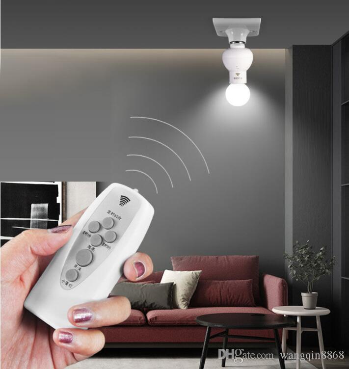 Suporte da lâmpada remota de controlo sem fios de infravermelhos pode ser escurecido temporizador Bulbo tampão Suporte de lâmpada de Base Para Corredor Escadas interior luz da noite