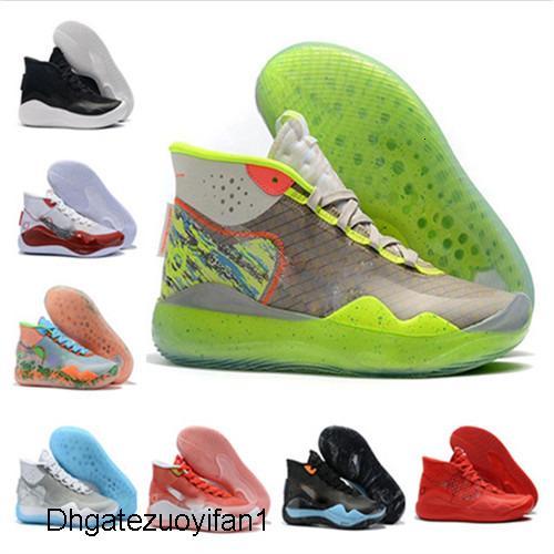 Heißer Verkauf 2019 New Kevin Durant XII KD 12 Sport-Basketball-Schuhe für Herren-Top Qualität Triple Black Red 12s Sport Turnschuh-Trainer