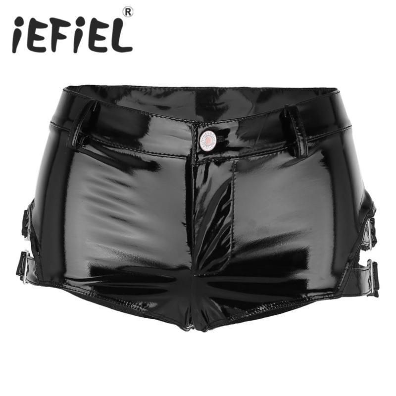 iEFiEL manera de las mujeres pone en cortocircuito la mirada mojada Charol de poca altura, de Clubwear mini shorts caliente con hebillas de dormir ropa