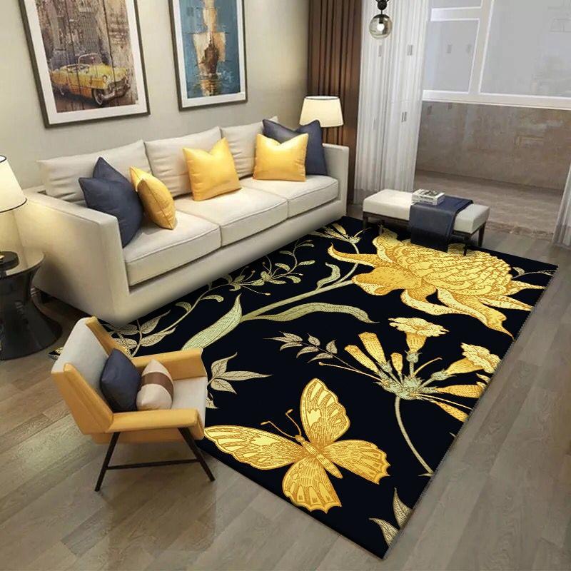 Pastorale Bereich Teppich 3D Goldener Schmetterling Blumen Teppiche Wohnzimmer Couchtisch Rutschfeste Bodenmatte Balkon Schlafzimmer Nacht Tapete