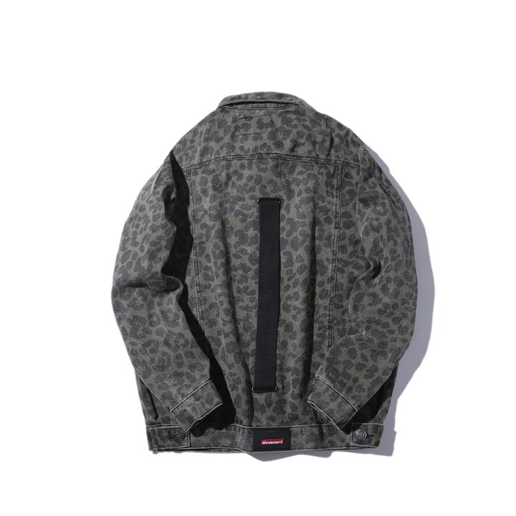 Aboorun Homme Male Jeans R3203 Veste Fashion Streetwear for Hop Veste Ruban Harajuku surdimensionné Leopard Hip Denim Denim TVQGL