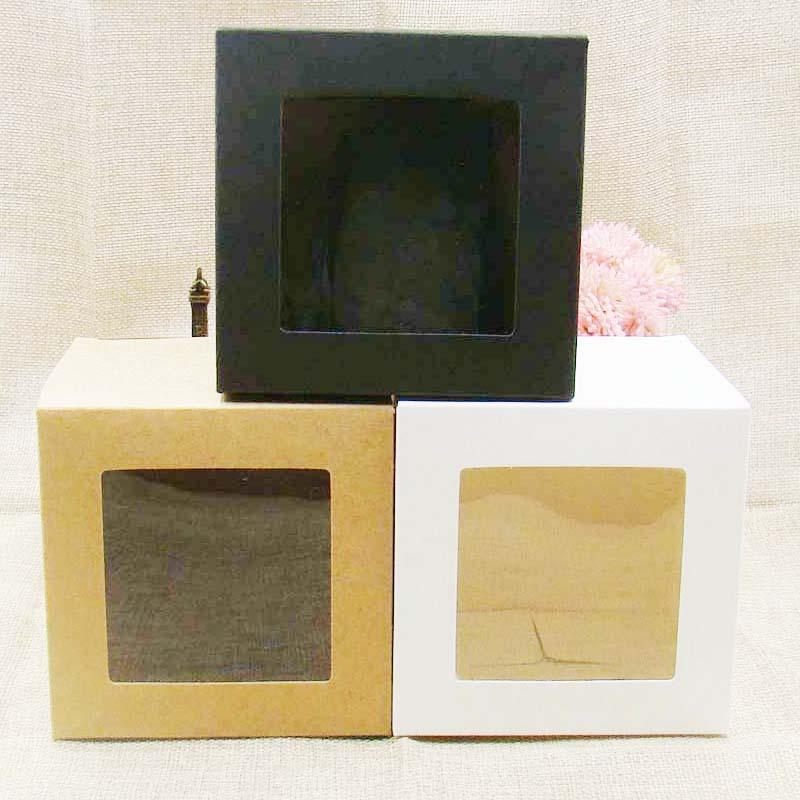 10 pcs New ZerongE jewely kraft / black white Paper window packping Box Gift box 7 * 7 * 7cm for Candy / cookie / cupcake display Box
