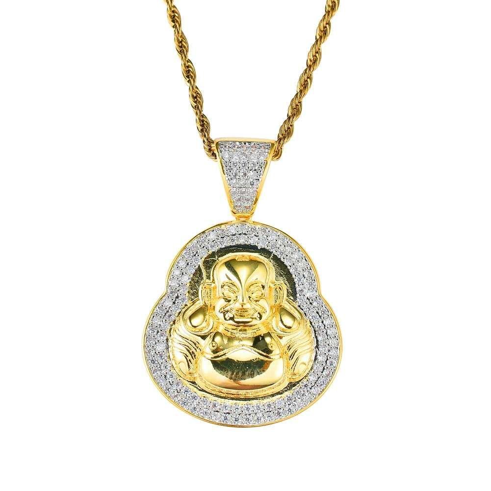 hip hop Maitreya Buddha diamanti collane ciondolo per uomini donne Buddismo Religione collana di lusso placcato oro reale zirconi di rame