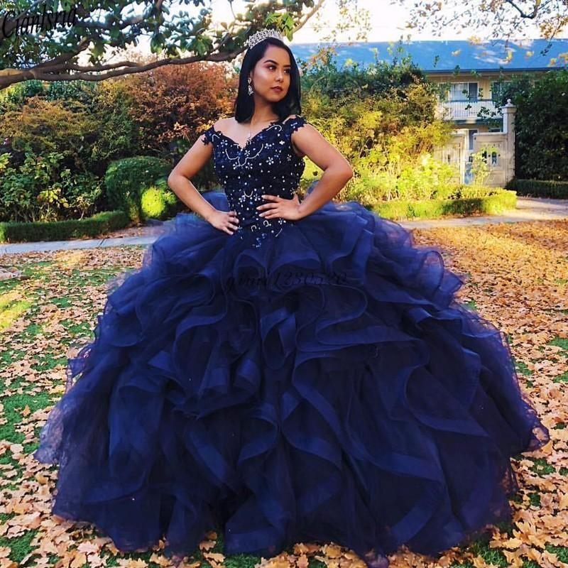 Blue Ball Princesa Marinha Vestido Quinceanera Vestidos Alças em cascata Ruffles cristal esferas formais Vestidos Vestido Prom partido para Sweet 15