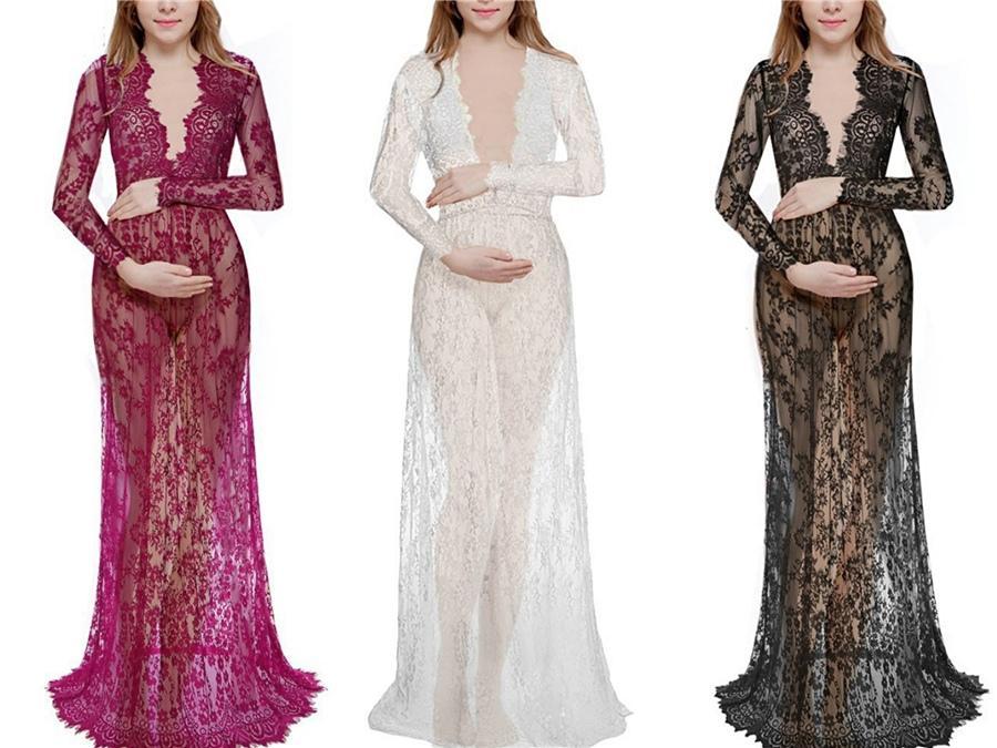 Neue Ankunfts-lange Hülsen-Brautkleider 2020 Robe De Mariee Sexy V-Ausschnitt-Spitze Brautkleider A-Linie Chiffon Brautkleid # 232