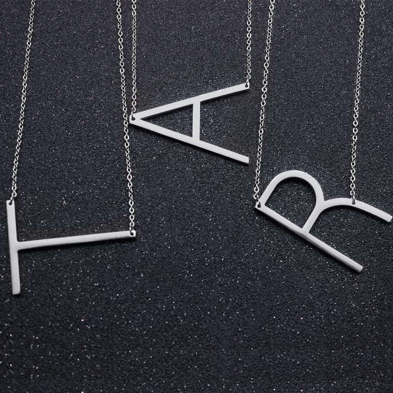 Stainless Steel A-Z Alfabeto Inglês inicial colar de prata banhado a ouro Capital Letter jóias hop pingente de Hip vontade e dropship de areia