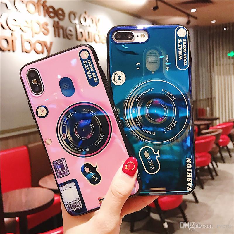 Frete grátis para o iPhone XS Max XR X Caso retro padrão da câmera tampa do telefone para o iPhone XS Stand Holder Casos TPU suave