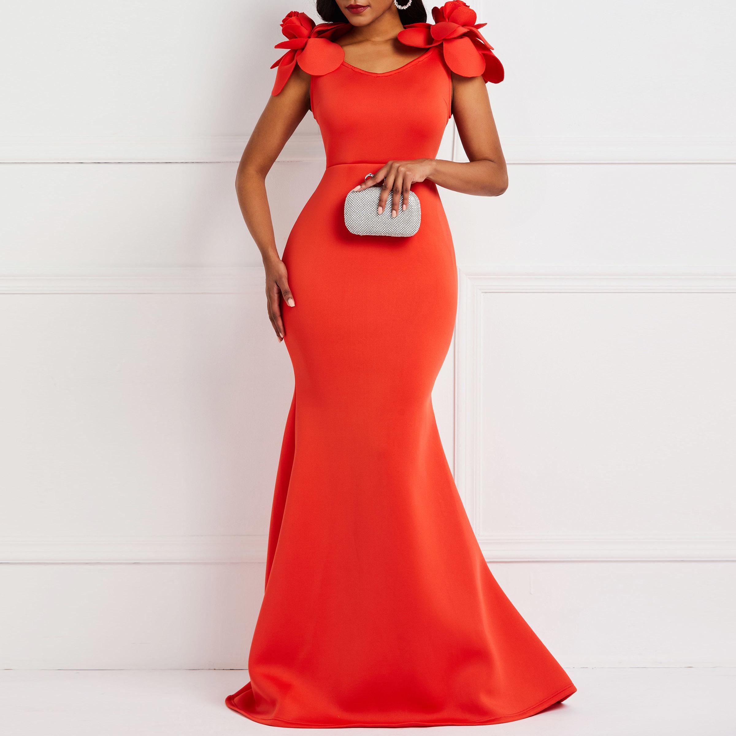Clocolor Mujeres Sexy Vestido Señoras Retro Sirena Vestido Flor Verano Elegante Con Estilo Más Tamaño Bodycon Rojo Vestidos de Fiesta Largos