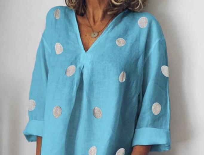 Мода Стилисты платье женского летние V-образный вырез платье вскользь горошек Сыпучего Сплита платье Мода Женщина одежда
