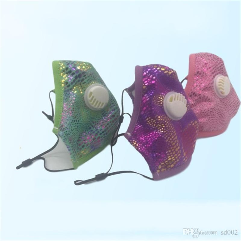 Anti Droplet Adults Respirator With Breathing Valve 6 Color Glitter Stereo Mouth Mask Washable Face Masks In Stock 10xh E1