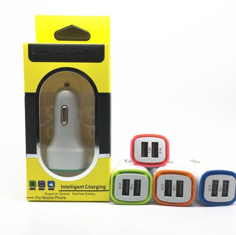 5V 2.1A 듀얼 USB 포트 소매 삼성 (20) 아이폰 (11)에 대해 경 자동차 충전기 어댑터 유니버설 차링 어댑터를 주도