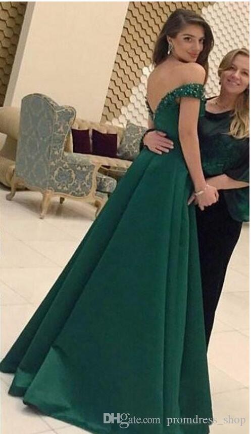 2020 Green V-neck A-line Prom Dresses Beaded Zipper Back Satin Formal Evening Dresses Prom Gowns Vestidos de Festa Special Occasion Dresses