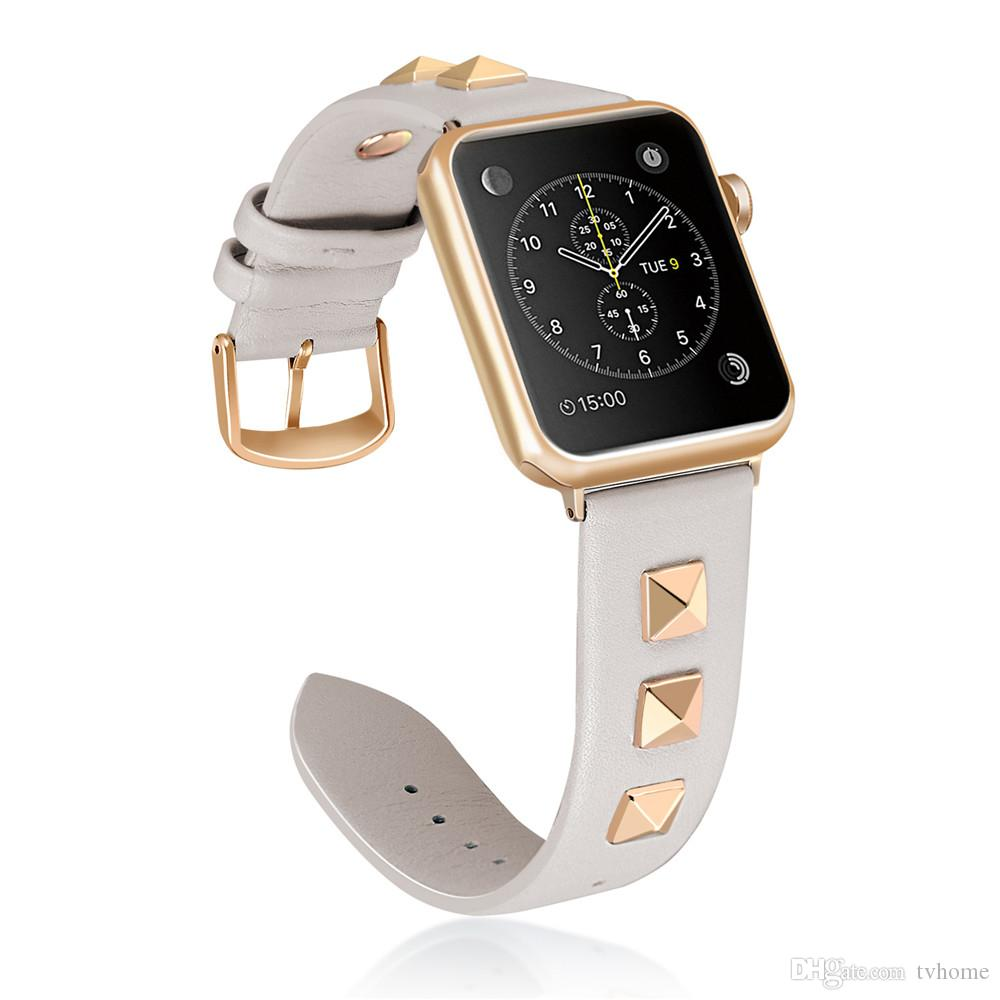 For Apple Watch Band 40/44mm 38/42mm Leather Strap Rivet Style Bracelet for Apple iWatch Series 4 3 2 1 Watchband Belt