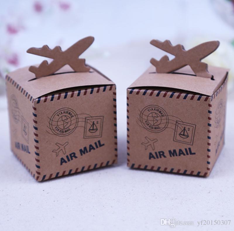소박한 종이 선물 가방 빈티지 에어 메일 비행기 디자인 크래프트 선물 상자 베이비 샤워 장식을위한 웨딩 호의 상자 도매