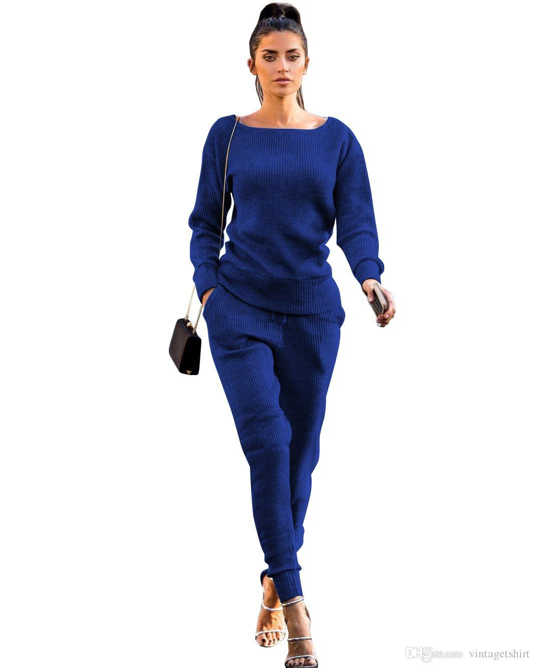 19SS Femmes 2019 printemps Costumes Casual Tenues Tricoté Hauts Pantalons Vêtements Ensembles Costume Designer