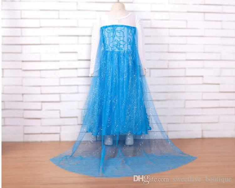 2018 New Style Pricess Dress Frozen Dress Girls Costumes for Kids Snow Queen Cosplay Princess Party Halloween Long Sleeve Dresses