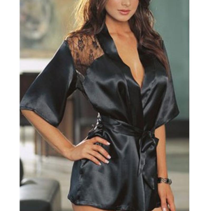 여성 섹시한 나이트 가운 란제리 에로틱 Uderwear 이국적인 의류 블랙 레이스 로브 섹시한 나이트 가운 친밀한 잠옷